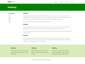 Fixed width template, green