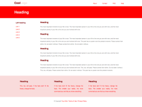 Fixed width template, red